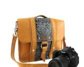 "10"" Sunrise and Green Paisley Napa Ashbury Leather Camera Bag"