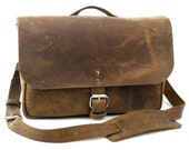 "NEW - 14"" Distressed Tan Courier Mail Bag - Laptop Bag"