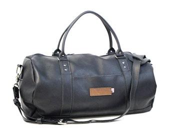 Rimini Black Leather Duffel Bag