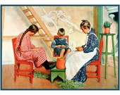 Carl Larsson's Shelling Peas on the Porch Counted Cross Stitch Chart