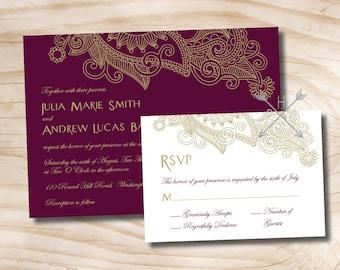 PAISLEY SCROLL Fleurish Wedding Invitation/Response Card Invitation Suite