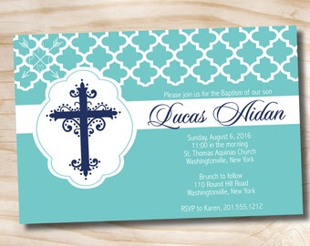MODERN BAPTISM Custom Baptism Invitation / Christening Invitation ...