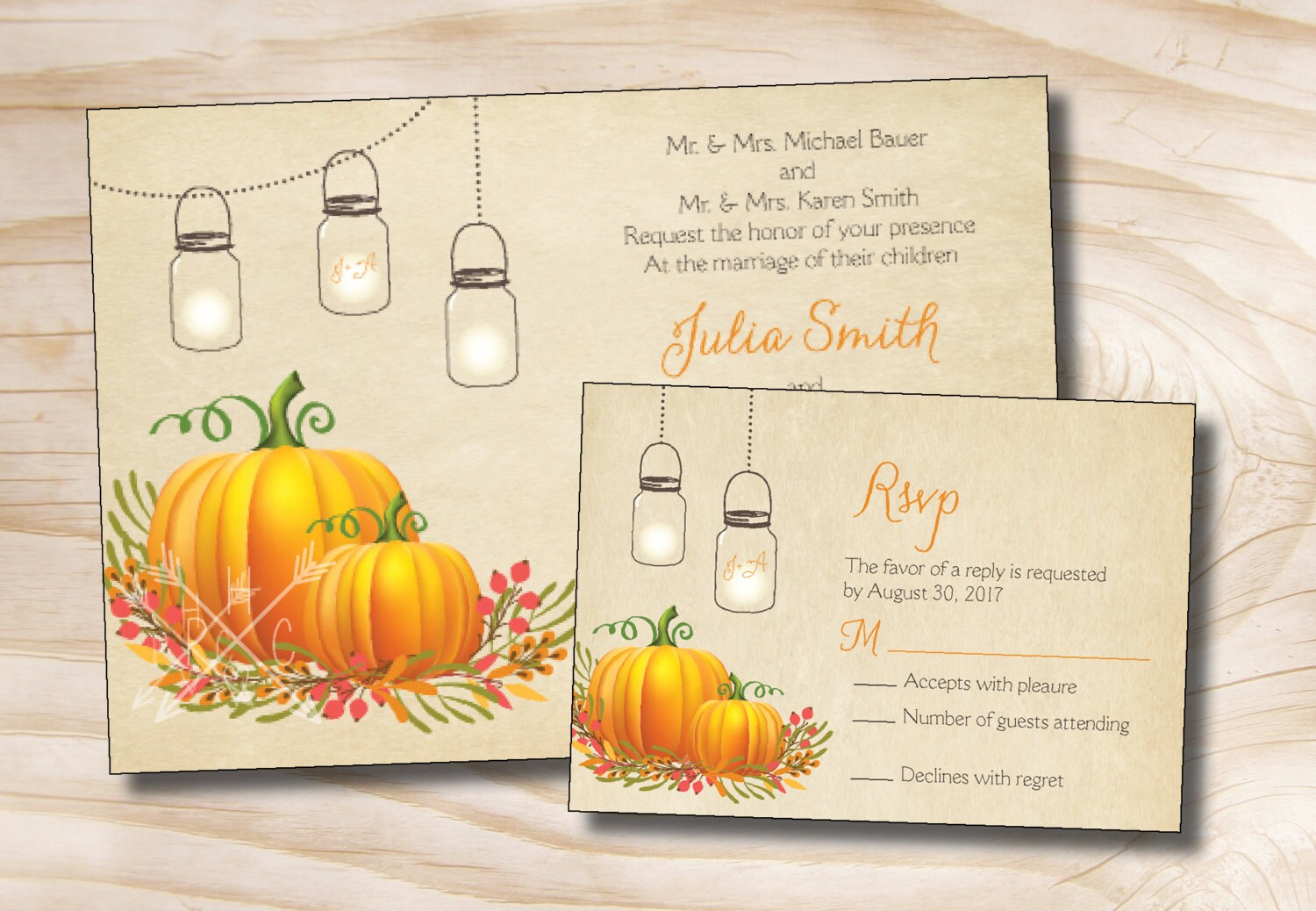 Mason jar pumpkin fall wedding invitation and response card for Fall wedding invitations with pumpkins