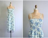 Reserved for E // smocked floral print picnic dress - vintage 70s sun dress / Blue Roses - sundress / Pin Up - 70s summer dress