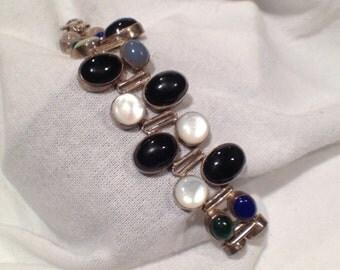 Modernist Bracelet Sterling Silver Vintage Gemstone Rose Quartz Lapis Cabochon