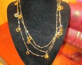 "Captivating Luxe Vintage Gold Plate, Open-Backed, Bezel-Set Golden AMBER Faceted Crystal DANGLE 54"" Necklace"