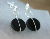 Black earrings,Glass earr...