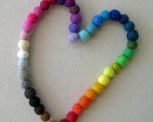 1cm / .4 in Wool Felt Ball Color Chain - 42 colors