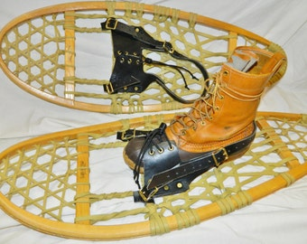Pair LEATHER SNOWSHOE snow shoe quick bindings straps harness USA made