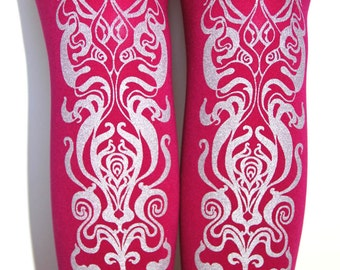 S M Silver Raspberry Art Nouveau Tights Cerise Magenta Deep Pink Winter Small Medium Womens Fashion