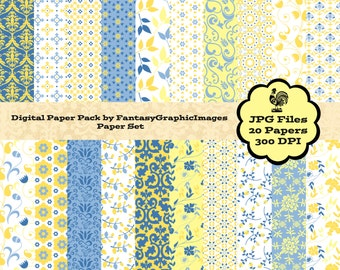 Blue Yellow Digital Paper Pack 20 Papers Vintage Damask Floral Provence French Country Background Scrapbook Scrapbooking Instant Download