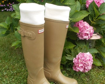 Cream Fleece Rain Boot Liners, Wellie liners, Regular or Tall Rain Boots, Boot Accessory, Fashion Size (Med/Lg 9-11)