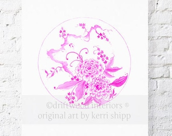 Pink Chinoiserie Plate Print