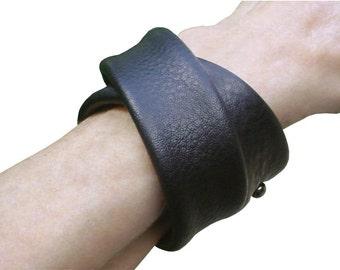 Leather Wrap Bracelet - Double Wrap - Leather Bracelet Cuff - Layered Leather Cuff - Bracelet - Black Leather - Men Women like Acne Studios