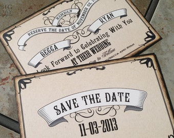 1920's style Save the Date. Roaring 20s save the date. Boardwalk banners save the date