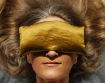 Eye Pillow - Organic Lavender Flax in Bronze Hemp Silk - Home Spa - Eco Friendly - Handmade
