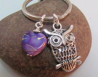 Owl  Keychain Keyring  mini owl charm with swivel clasp purple heart choice of pink purple or red heart charm