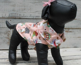 X-Small Pink and White Dapper Dog Flannel Dog Jacket
