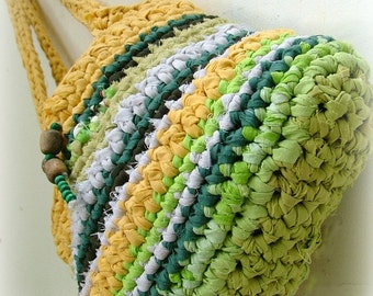 Eco friendly recycled bag - crocheted fabric bag lemon and mint with wooden beads
