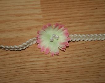 Vintage Inspired Flower pearl tieback headband Newborn to Child RTS