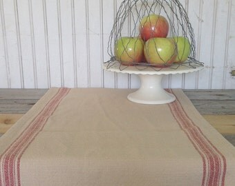 Farmhouse table runner- red and tan stripe- medium