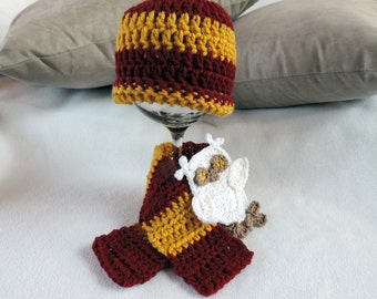 Newborn Infant Hogwarts Harry Potter House Beanie Hat, Scarf and Owl Applique Photo Prop Set