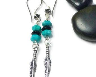 Blue Turquoise Earrings, Sterling Silver, Feather Earrings, Blue Stone Earrings, Boho Style, Native American Style