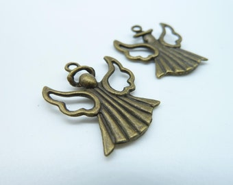 10pcs 21x27mm Antique Bronze  Filigree Angel Charm Pendant c963