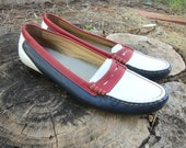 Vintage Leather Penny Loafers Preppy Slip on Shoes Size 6 Nautical Trotters Red White Blue