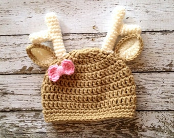 Little Miss Deer Beanie in Light Taupe, Ecru and Baby Pink Available in 5 Sizes- MADE TO ORDER