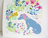 Dachshund In Floral Doodle Garden - Sausage Dog Illustration - Dachshund Illustration - Floral illustration - Pastel Floral -10 x 10 inches