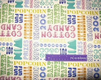 Asbury Carnival Cotton Candy Popcorn Games Rides Cotton Fabric By The Half Yard