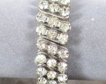 Signed Vintage Rhinestone Stretch Bracelet,3 row Expansion Bracelet, Wedding Bracelet All Clear Rhienstones