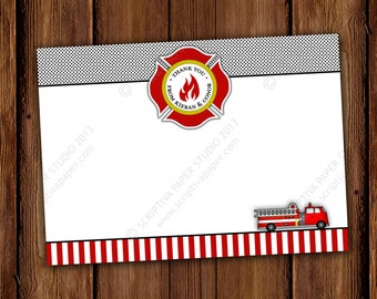Fire Truck Children Thank You Notes - Fire Station Birthday Stationery - Children Stationary