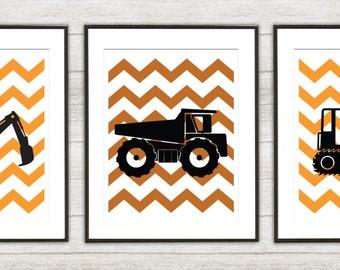 Heavy Equipment Chevron Print Set - BullDozer Nursery - boys Nursery - Dozer Print - Set of Three Prints (02)
