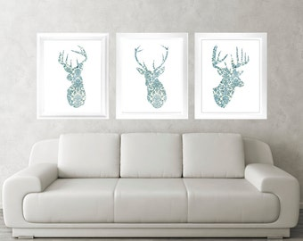 Antler, Stag, Deer Print Set of 3 - Minimalist Art - Vintage Pattern Poster Silhouette Art - Print - Wall Decor, Home Decor, Gifts (05)