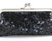 Black Sequin Evening Clutch - Sparkle Purse - Bagboy