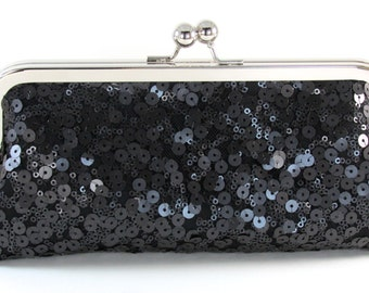 Black Sequin Evening Clutch - Sparkle Purse - Bagboy