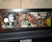Billie Holiday portrait in glass mosaic