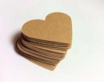 Sets of 50 Die cut Kraft Paper hearts