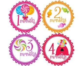 Baby Stickers Monthly, Girls Baby Bodysuit Stickers, Monthly Stickers, Baby Month Stickers, Monthly Bodysuit Stickers, Party (G049)