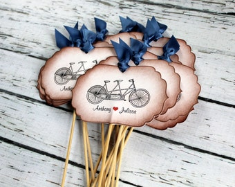 Vintage Inspired Centerpiece Signs on Skewers - Set of  5 - Tandem Bike