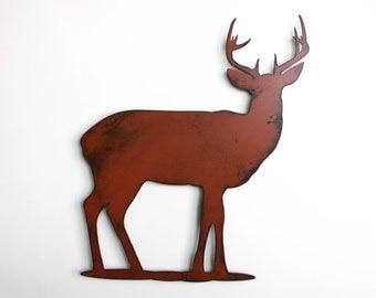 "Deer buck stag metal wall art - 18"" tall wall art - deer brown with rust accents - metal wall hanging"