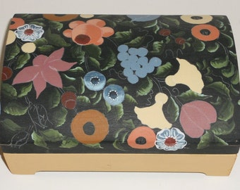 Wooden Painted Jewelry Box Flowers