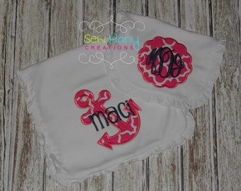 Monogram Bib and Burp Cloth - Ruffle Bib Set - Baby Girl Gift - Custom Bib Burp Cloth - Hospital Gift Set for Baby - Anchor - Lake