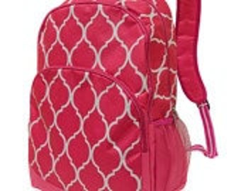 Pink Quatrefoil Backpack from All for Color, monogrammed with your name, customized