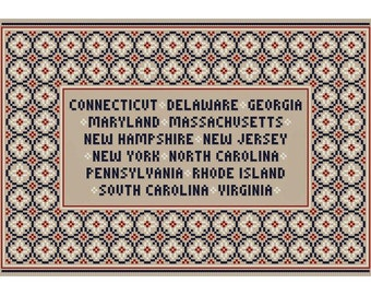 SPIRIT OF '76 Patriotic Cross Stitch Chart - Thirteen Original Colonies