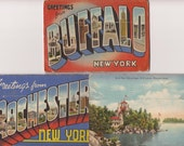 6 Souvenir postcard folders posted to England 1948 views of New York x 4 Indiana x1 Canada x 1