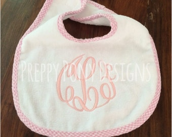 Sweet Gingham Baby Bib in Three Colors