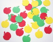 100 Red Green Yellow Apple punch die cut cutout confetti scrapbook embellishments - No560